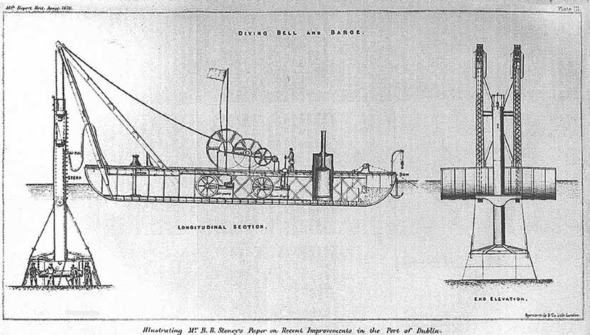Diving bell and float, image from http://www.mariner.ie/history/articles/engineering/the-dublin-port-diving-bell